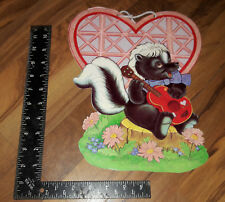 Vintage Valentine's Day Skunk Playing Guitar Heart Die Cut out Decorations Q