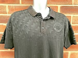 Manchester United Adidas Black polo top Football T Shirt UK Size Large L