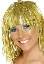 Gold Tinsel Wig Ladies Novelty Fancy Dress Costume Accessory