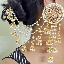 Women Gold Plated Indian Bollywood Vintage Bridal Fashion Jhumka Earrings Chain