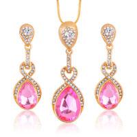 Vogue Prom Wedding Bridal Gold Jewelry Crystal Rhinestone Necklace Earrings Set