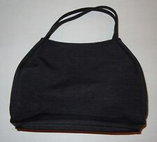 Black Ribbed Fabric Two Handle Purse - NEW