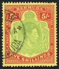 Bermuda 1938 SG118 5/- Green and Red Perf 14 Fine CDS Used.
