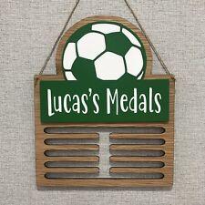 Medal Display Hanger Holder Football Oak Personalised Kids Children's Plaque