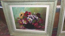 Peinture sur panneau fleurs années 50  haut 47.8 larg 55.5 prof 6cm (2)