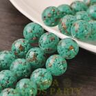 New 5pcs 14mm Lampwork Glass Dots Loose Spacer Round Beads Charms Lake Green