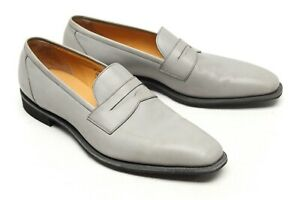Gaziano Girling Monaco Mens Penny Loafers 10 C Gray Leather Plain Toe Dress Shoe