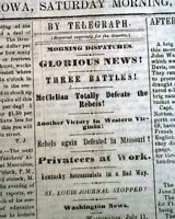 Rare DAVENPORT Iowa Civil War w/ Battle of Rich Mountain WV 1861 Old Newspaper
