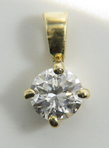 0.33CT DIAMOND SOLITAIRE PENDANT. D-F/FLAWLESS.4.41MM. Y/GOLD. BARGAIN!!!!!!!!13