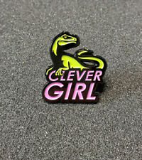 Jurassic Park Clever Girl Velociraptor Green & Pink Pin 1 inches