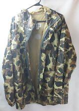 Vtg LL Bean Camo 100% PVC Rain Wind Waterproof Men's Coat Jacket Green Sz Large