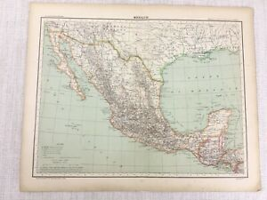 1898 French Map of Mexico Central America 19th Century Antique Original