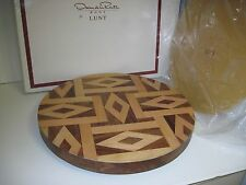 "Oscar de la renta For Lunt Kentwood Lasy Susan Tray 16"" Hand Crafted Inlaid -NOS"