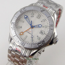 GMT Function 41mm Bliger Automatic Men's Watch White Wave Dial Sapphire Date