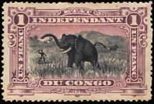Belgian Congo Scott 24 1F Hunting Elephants.