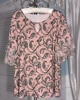 NEW Plus Size 1X Pink Black Blouse Ruffle Sleeve Top Paisley Shirt