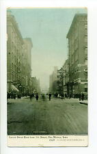 Des Moines IA Iowa 1913 Locust Street East from 7th Street, people, signs