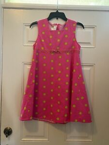 Bonnie Jean Pink A Line Dress w Lime Green Polka Dots & Bow girls 14-16