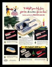 1948 Pro-Phy-Lac-Tic Jewelite Hair Brush Vintage PRINT AD Christmas Gifts 1940s