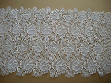 DESIGNER FANCY WHITE LACE TULIP FLOWER EMBROIDERED SCALLOP BRIDAL WEDDING 15 YDS