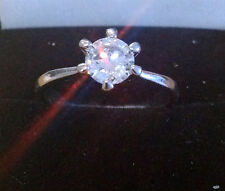 Platinum Plated Crystal Stellux Ring, 7mm Stone.