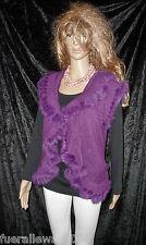 Bolerojacke Strickjacke Cardigan Bolero violett Langhaarfell Neu V-Ausschnitt