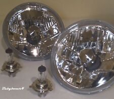 Round Head Lights + H4 White GLOBES Right Left Side Holden Kingswood HJ HQ HX HZ