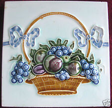 Antique German Tile Fruit Basket and Bows