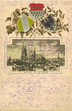 Köln - Litho Ansichtskarte mit geprägtem Wappen