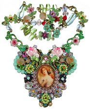 Michal Negrin Victorian Vintage Style Cameo Crystal Flowers Beaded Lace Necklace