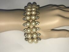 Vintage Monet Bracelet Statement Gold-tone Metal Faux Pearls Rhinestones 7""