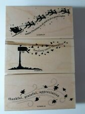 Stampin Up Wandering Words Stamp Set 3 Silhouettes Santa Sleigh Reindeer Fall
