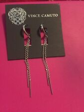 $28 Vince Camuto Double Drop Chain Earrings Silver Tone VC 107