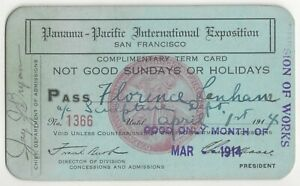 PPIE San Francisco, California Expo Pre Opening Pass, Sculpture Dept. 1914