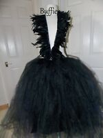 Ladies high and low tutu Gothic Skirt Witch Fancy dress Tulle net skirt 6-20
