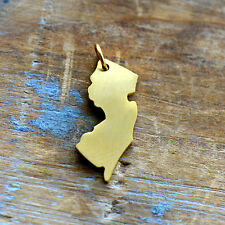 New Jersey State Charm - Brushed 24k Gold Plated Stainless Steel Pendant Minimal
