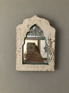 Small Wood Wall Mirror Indian Arch Vintage
