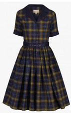 Lindy Bop 'Bletchley' Navy & Green Tartan Check Plaid Vintage Shirt Dress BNWT
