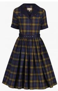 Lindy Bop 'Bletchley' Navy & Green Tartan Check Plaid Vintage Shirt Dress BNWT