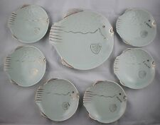 Vintage Seafoam Texture Fish Shape Dishes Nautical Whimical Lot of 7