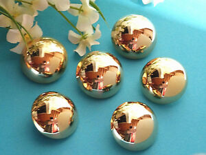 "042# Big Buttons "" Gold Moon "" Golden Set Of 6 Buttons Period Vintage"