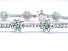 "18Kt Gem Tsavorite & Diamond White Gold Tennis Bracelet 7"" 4.02Ct"