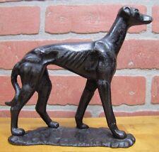 Antique Art Deco Cast Iron Greyhound Whippet Dog Doorstop Decorative Art Statue