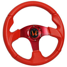 320mm JDM Racing Sport Steering Wheel Red PVC Leather Red Stitch Spoke 6-Hole