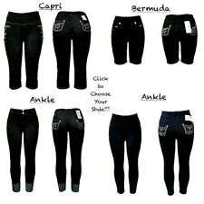 Women's NEW Denim Style Jeggings w/Front+Back Pockets Ankle/Bermuda/Capri Lenght