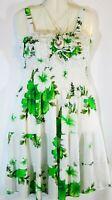 Womens Dress Sundress Green White Floral Print Free Size Fits Small Medium