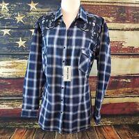 Panhandle Slim Women Dark Blue Low Neck Snap Up Long Sleeve Western Shirt 1X