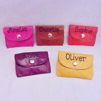 PERSONALISED WITH ANY NAME GENUINE LEATHER NECK PURSE BIRTHDAY BOY GIRL GIFT