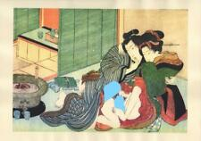 Japanese Reproduction Woodblock Print Shunga Style A61 Erotic A4 Parchment Paper