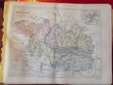 Old Map 1900 France Département Morbihan Vannes Josselin Berne Gourin Lorient